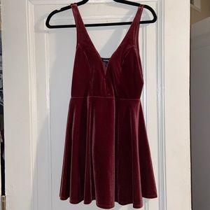 Express XS Suede Burgundy Dress